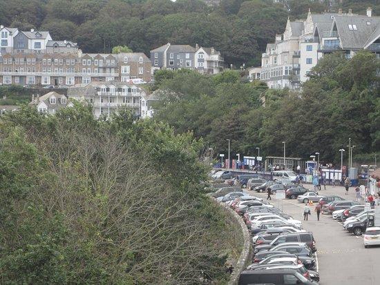 Porthgwidden Beach: The Parking Area above Beach, also Train Station.