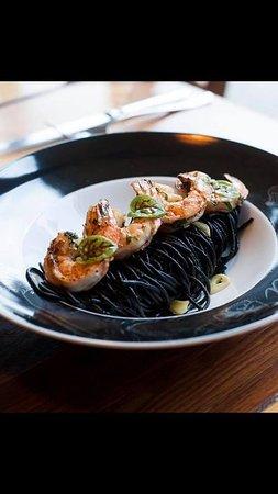 SPAGHETTI NERO DI SEPPIA   - tiger shrimps, garlic, olive oil (Extra virginie), white wine Chardonnay, butter