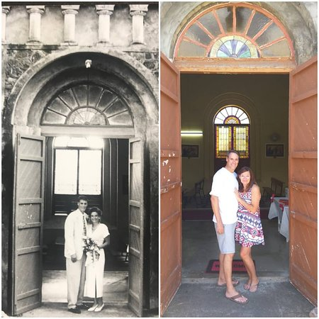 Sandy Point Town, St. Kitts: ❤GREAT LOVE STORY❤ Jim and Christina posing in the exact spot they posed for a photo 25 YEARS ago at their wedding infront of the Sacred Heart Catholic Church⛪in Sandy Point, St. Kitts😍They have returned to celebrate their anniversary and show their kids where they tied the kn💍t 🎉CONGRATULATIONS🎉 Jim and Christina from #StKittsGoodTimesTours