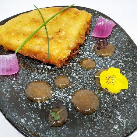Saganaki Cheese with Rhubard Marmalade