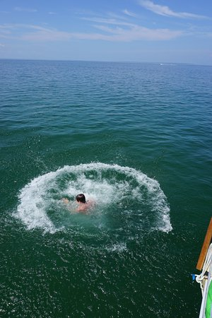 Cannonball jump off the boat.