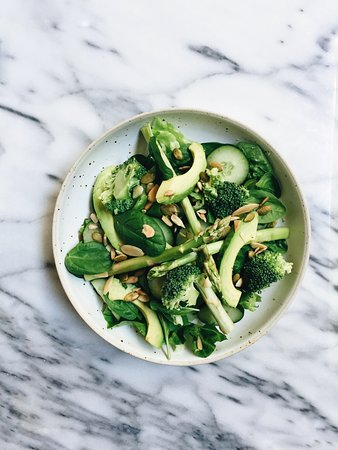 Meet Joe in Bangsar:  GREEN GODDESS SALAD asparagus, avocado, broccoli, mixed greens, seeds with basil pesto dressing.