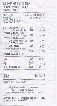 Snack Bar Alto Monte: note incluant une bouteille de Mateus rosé