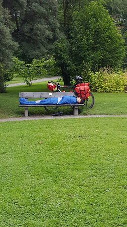 biker enjoying the gardens