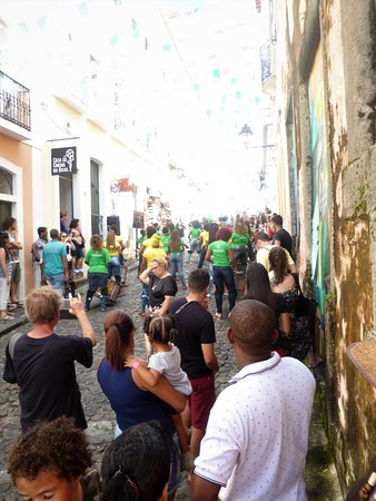 """Girls' band """"Didá"""" playing on the streets of Pelourinho in Salvador."""