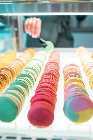 A wide selection of macarons.