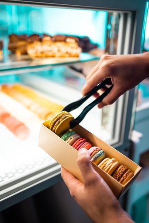 Selling macarons in branded packaging for secure transportation. It also makes a very pretty gift.
