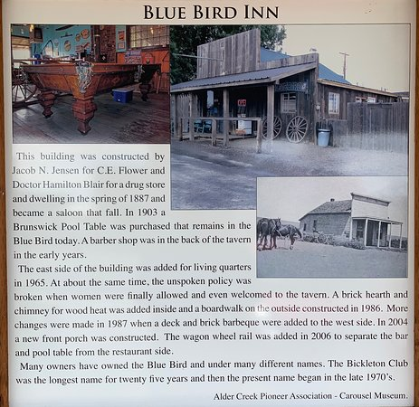 Bluebird Inn: History (the museum in town has mounted these around town on the various buildings)