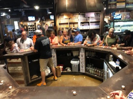 Sugarlands Moonshine Distillery Tour in Gatlinburg: tasting tables