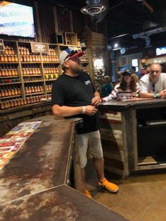 Sugarlands Moonshine Distillery Tour in Gatlinburg: tasting bartender/entertainer