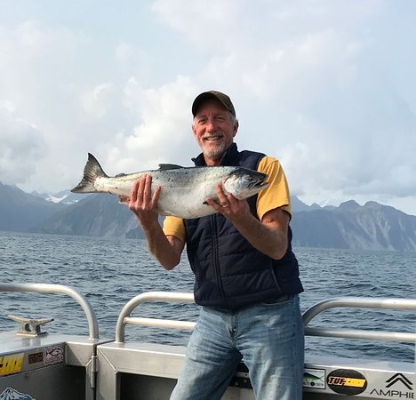 This is what the silver salmon look like. Steve got 3 and I got 2. I almost got the third!