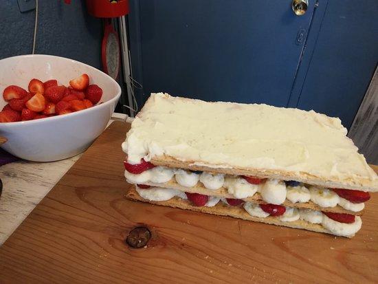 Freshly-made strawberry Napoleon