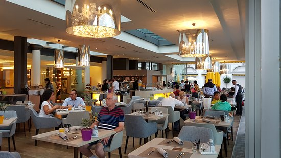 Elegant indoor section of the restaurant with walk out to the terrace