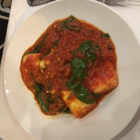 Slow cooked pork belly + slow cooked beef Raghu   Ricotta and spinach gnocchi with napoli sauce.