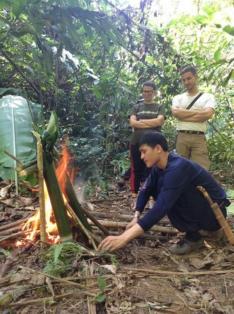 Bamboo cooking in the jungle