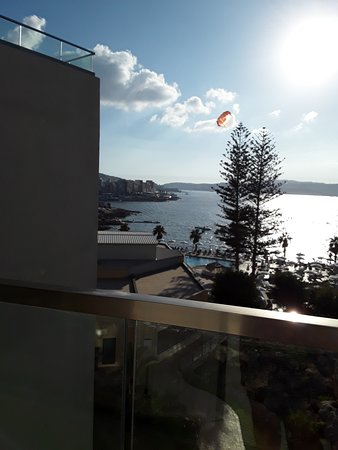 View from our room with a paraglider