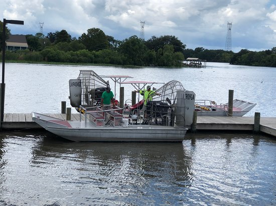 New Orleans Airboat Ride with Transportation: New Orleans Airboat Adventures - air boat at pier