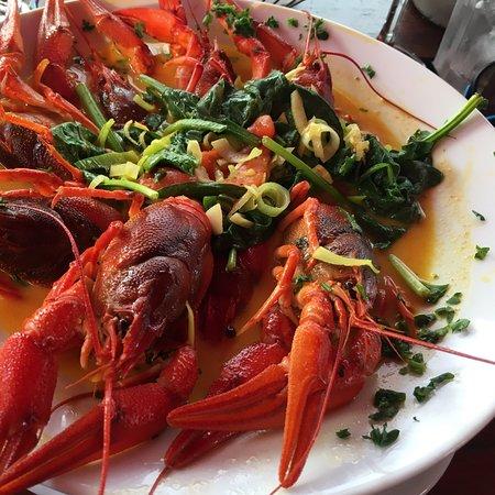 ... wie immer perfektes Essen, frische Flusskrebse und frische Steinpilze, Robert comme il faut !!!