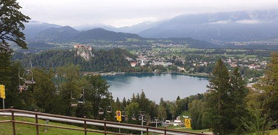 Straza Bled Summer Tobogganing: Uitzicht over meer van Bled.