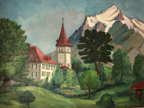 Hotel Gletschergarten : The view from our room was outstanding!  We had a walkout corner balcony with views of the Eiger and the surrounding mountains.  The current owner's grandfather was a painter and his artwork is featured thought the charming hotel.