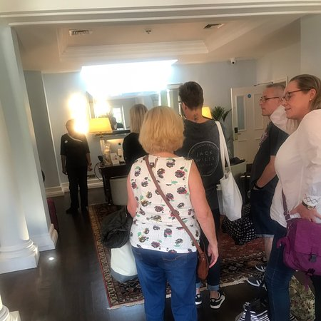 Queue at reception at Champneys on arrival