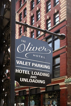 The Oliver Hotel, 407 Union Ave, Knoxville, TN - Sign on Union Ave