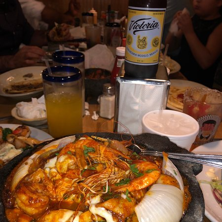 delicious hot seafood molcajete