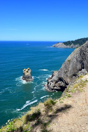 View from the Devils Cauldron viewpoint looking out towards Arch Cape.