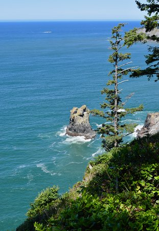 Sea stacks and gorgeous blue water.