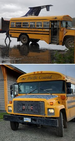 """Pacific Coastal Airlines: Their """"fleet"""" includes this bus."""