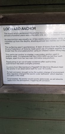 More info about the Loch Ard Anchor, located just outside the Port Campbell Visitors Center.