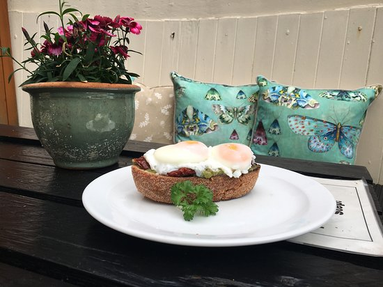 Smashed Avocado on toast in the Courtyard
