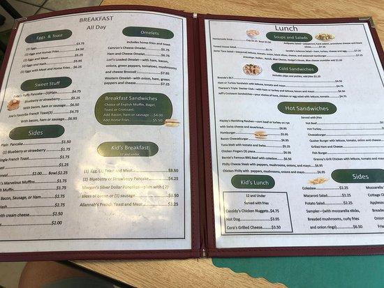 Philadelphia, NY: Cook's Family Restaurant - menu (inside)