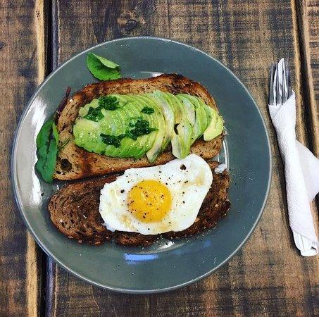 Toast sunny side up egg avocado toast