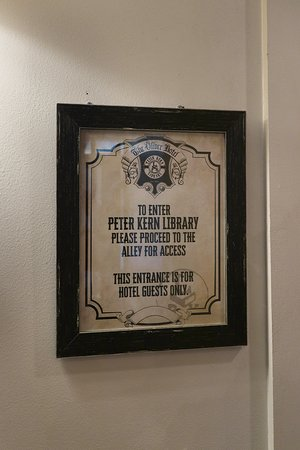 Peter Kern Library in The Oliver Hotel 407 Union Ave, Knoxville, TN - Entrance Sign in The Oliver's Lobby