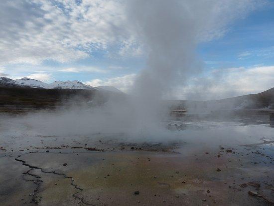Hot water being spewed
