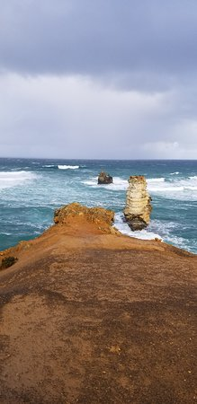 One view of the rough seas at Bay of Islands, Great Ocean Drive, Victoria, Australia.