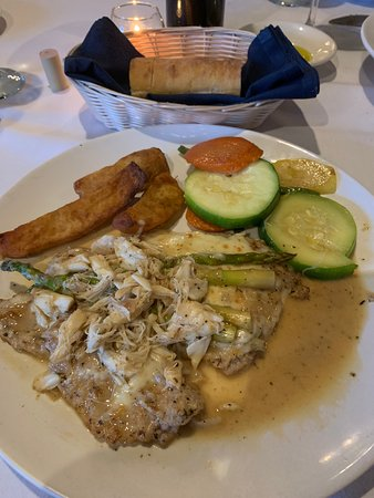 Ambler, PA: Veal Imperatori with fresh crab meat and side vegetables.