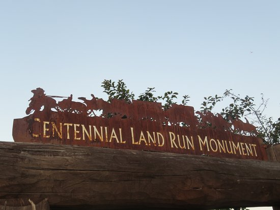 Centennial Land Run Monument: The sign on the roadside