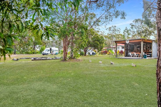Bush Kitchen at Fraser Coast RV Park, plenty of room to spread out and enjoy with fire pits