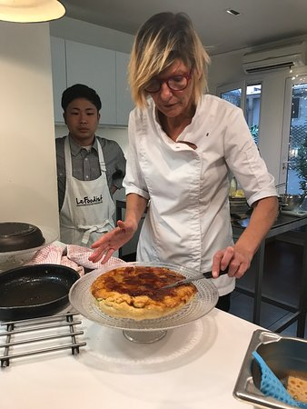 Paris Cooking Class including 3-Course Lunch, Wine & Optional Market Visit: Chef Sarah puts finishing touch on our dessert