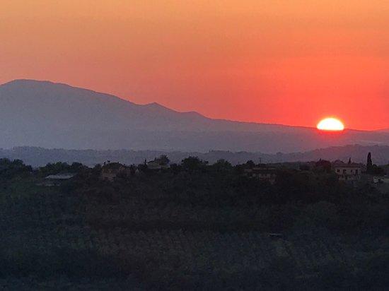 Casperia sunset, at the restaurant near La Torretta.