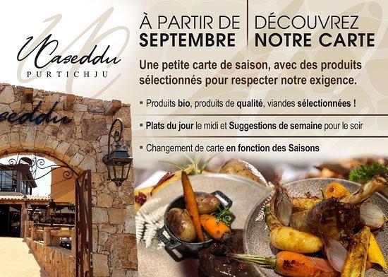 A partir de Septembre, nous passons à la carte et arrêtons le buffet. Découvrez une carte de saison, avec des produits sélectionnés et de qualité.