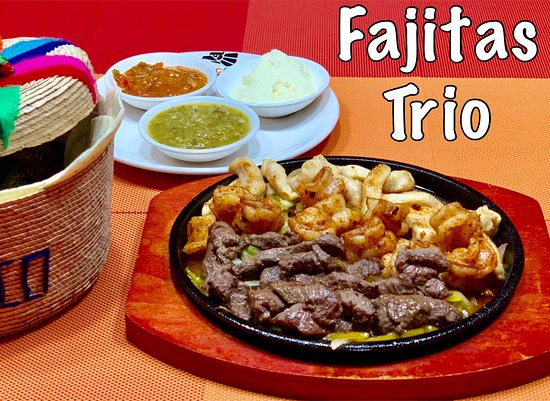 TACOS: Fajitas. Served with three different salsas and warm flour tortillas.