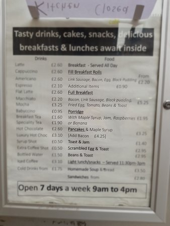 Menu - sorry it is blurred....