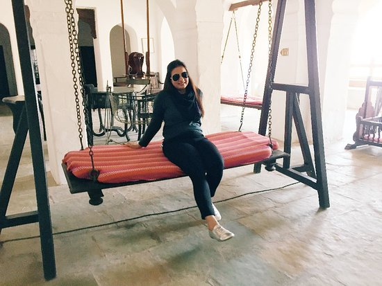 Neemrana Fort-Palace: I could spend the whole day swinging on this medieval times swing.