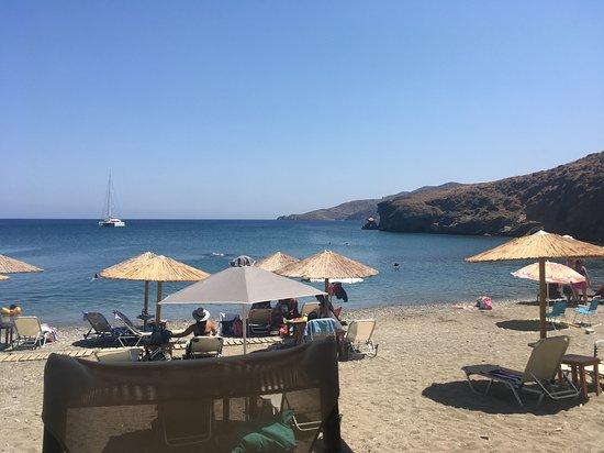 Livadi Beach: Photo taken from Alegro bar/restaurant while enjoying savoury pancakes & beer