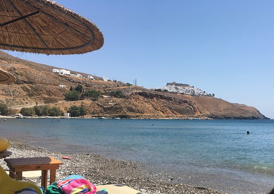Livadi Beach: View of Chora & the Castle from the beach