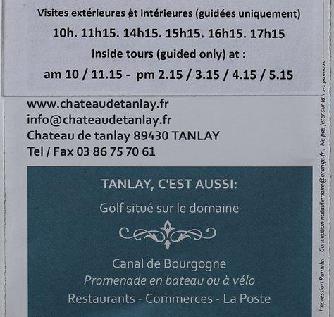 Tanlay, Frankrijk: Le flyer du château