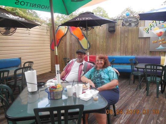 Patio's Tiki Bar: My husband and I at the patio at Patio's